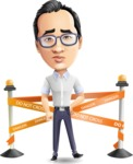 Cartoon Chinese Man Vector Character - with Under Construction sign