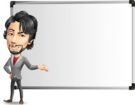 Japanese Businessman Cartoon Vector Character - Showing on Big whiteboard