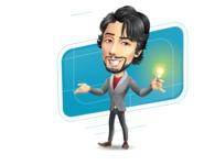 Japanese Businessman Cartoon Vector Character - Shape10