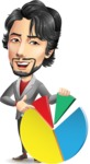 Japanese Businessman Cartoon Vector Character - with Business graph