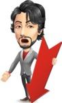 Japanese Businessman Cartoon Vector Character - with Arrow going Down