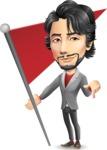 Japanese Businessman Cartoon Vector Character - with Flag