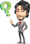 Japanese Businessman Cartoon Vector Character - with Question mark