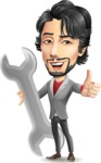 Japanese Businessman Cartoon Vector Character - with Repairing tool wrench
