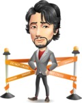 Japanese Businessman Cartoon Vector Character - with Under Construction sign