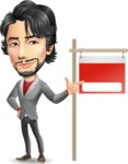 Japanese Businessman Cartoon Vector Character - with Blank Real estate sign
