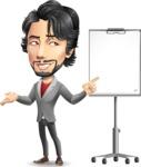 Japanese Businessman Cartoon Vector Character - with a Blank Presentation board