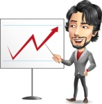 Japanese Businessman Cartoon Vector Character - Pointing on a Blank whiteboard