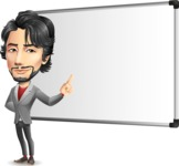 Japanese Businessman Cartoon Vector Character - Making a Presentation on a Blank white board
