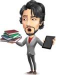 Japanese Businessman Cartoon Vector Character - Choosing between Book and Tablet