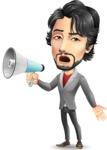 Japanese Businessman Cartoon Vector Character - Holding a Loudspeaker