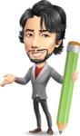 Japanese Businessman Cartoon Vector Character - Holding Pencil
