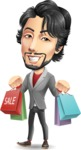Japanese Businessman Cartoon Vector Character - Holding shopping bags
