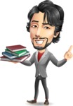 Japanese Businessman Cartoon Vector Character - with Books
