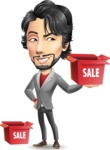 Japanese Businessman Cartoon Vector Character - with Sale boxes
