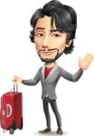 Japanese Businessman Cartoon Vector Character - with Suitcase
