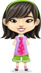Asian School Girl Cartoon Vector Character AKA Ah Cy - Normal