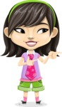 Asian School Girl Cartoon Vector Character AKA Ah Cy - Point 2