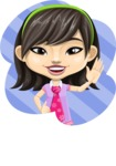 Asian School Girl Cartoon Vector Character AKA Ah Cy - Shape 1