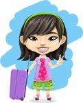 Asian School Girl Cartoon Vector Character AKA Ah Cy - Shape 5