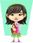 Asian School Girl Cartoon Vector Character AKA Ah Cy - Shape 6