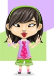 Asian School Girl Cartoon Vector Character AKA Ah Cy - Shape 8