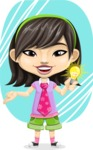 Asian School Girl Cartoon Vector Character AKA Ah Cy - Shape 9