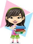 Asian School Girl Cartoon Vector Character AKA Ah Cy - Shape 10