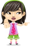 Asian School Girl Cartoon Vector Character AKA Ah Cy - Direct Attention 2