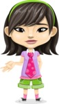 Asian School Girl Cartoon Vector Character AKA Ah Cy - Sorry
