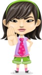 Asian School Girl Cartoon Vector Character AKA Ah Cy - Stop