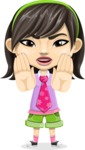 Asian School Girl Cartoon Vector Character AKA Ah Cy - Stop 2