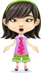 Asian School Girl Cartoon Vector Character AKA Ah Cy - Stunned