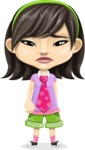 Asian School Girl Cartoon Vector Character AKA Ah Cy - Sad