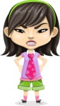 Asian School Girl Cartoon Vector Character AKA Ah Cy - Angry