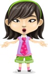 Asian School Girl Cartoon Vector Character AKA Ah Cy - Shocked