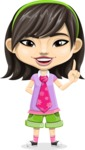 Asian School Girl Cartoon Vector Character AKA Ah Cy - Attention