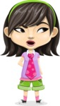 Asian School Girl Cartoon Vector Character AKA Ah Cy - Rolls Eyes