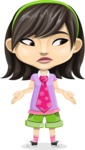 Asian School Girl Cartoon Vector Character AKA Ah Cy - Lost