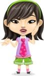 Asian School Girl Cartoon Vector Character AKA Ah Cy - Confused
