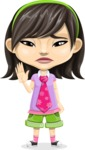 Asian School Girl Cartoon Vector Character AKA Ah Cy - GoodBye