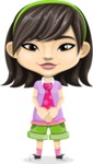 Asian School Girl Cartoon Vector Character AKA Ah Cy - Patient