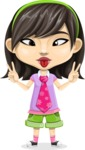 Asian School Girl Cartoon Vector Character AKA Ah Cy - Making face