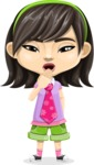 Asian School Girl Cartoon Vector Character AKA Ah Cy - Bored