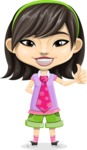 Asian School Girl Cartoon Vector Character AKA Ah Cy - Thumbs Up
