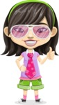 Asian School Girl Cartoon Vector Character AKA Ah Cy - Sunglasses