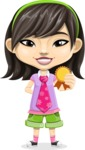 Asian School Girl Cartoon Vector Character AKA Ah Cy - Ribbon