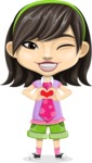Asian School Girl Cartoon Vector Character AKA Ah Cy - Show Love