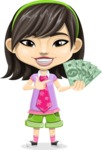 Asian School Girl Cartoon Vector Character AKA Ah Cy - Show me the Money