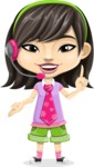 Asian School Girl Cartoon Vector Character AKA Ah Cy - Support 2
